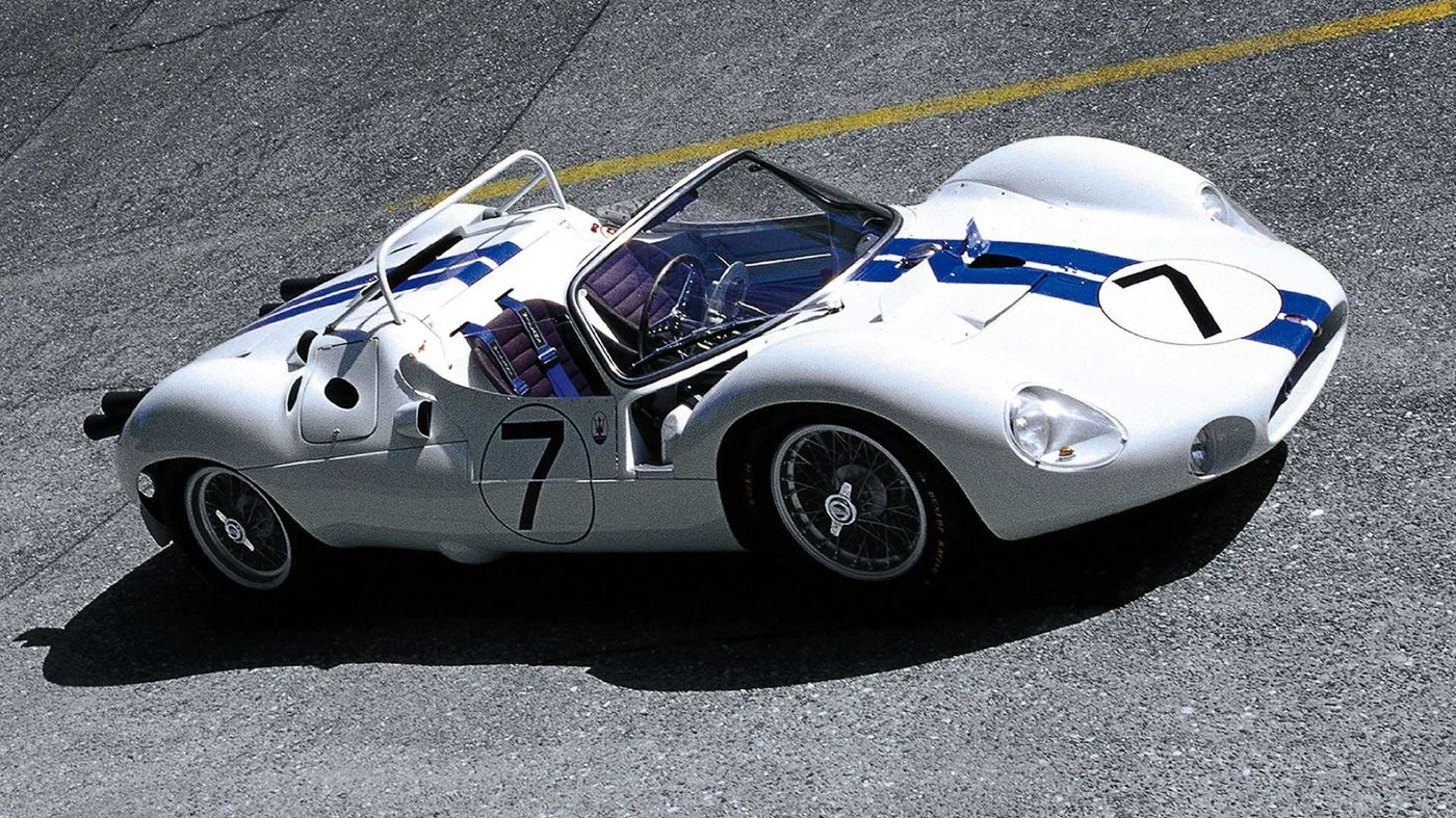 White Maserati Classic - Birdcage - Side view - On race track