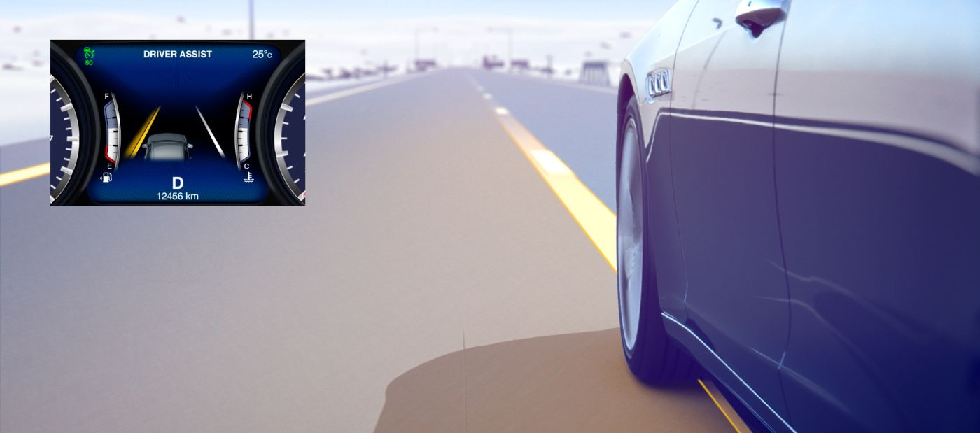 Lane Keeping Assist System - Maserati wheel view on a lane marking