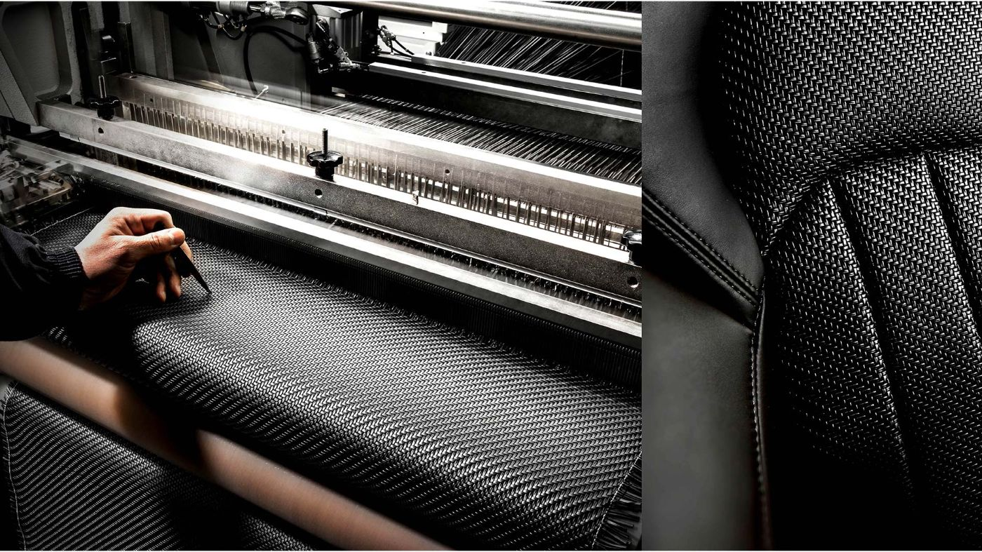 Maserati Zegna Pelletessuta interiors - Working at the weaving loom and detail of woven leather seat